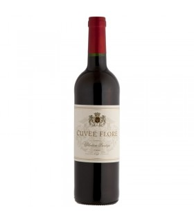 Czerwone wino pówytrawne Cuvee Flore Rouge z etykietą