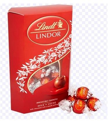 LINDT- Praliny Lindor mleczny Cornet 337g -LINDOR MILK CORNET