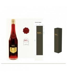 Butelka 350ml z piecżęcią lakową z logo, korek drewniany, etykieta z logo, kartonik tłoczone logo