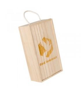 Skrzynka do wina 2 el. wykonana z drewna sosnowego i sklejki, z dołączonymi naturalnymi wiórami
