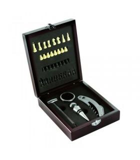 Zestaw do wina 5 el. w drewnianym pudełku, szachy i akcesoria do wina V5334-17
